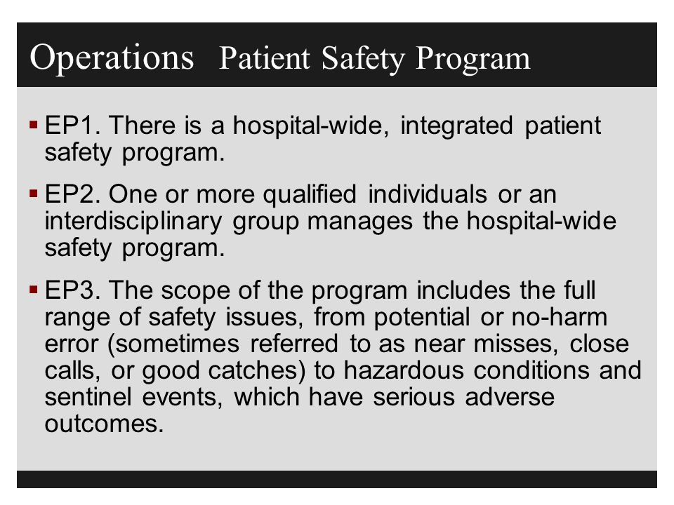 Operations Patient Safety Program  EP1.