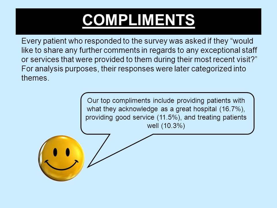 COMPLIMENTS Every patient who responded to the survey was asked if they would like to share any further comments in regards to any exceptional staff or services that were provided to them during their most recent visit For analysis purposes, their responses were later categorized into themes.