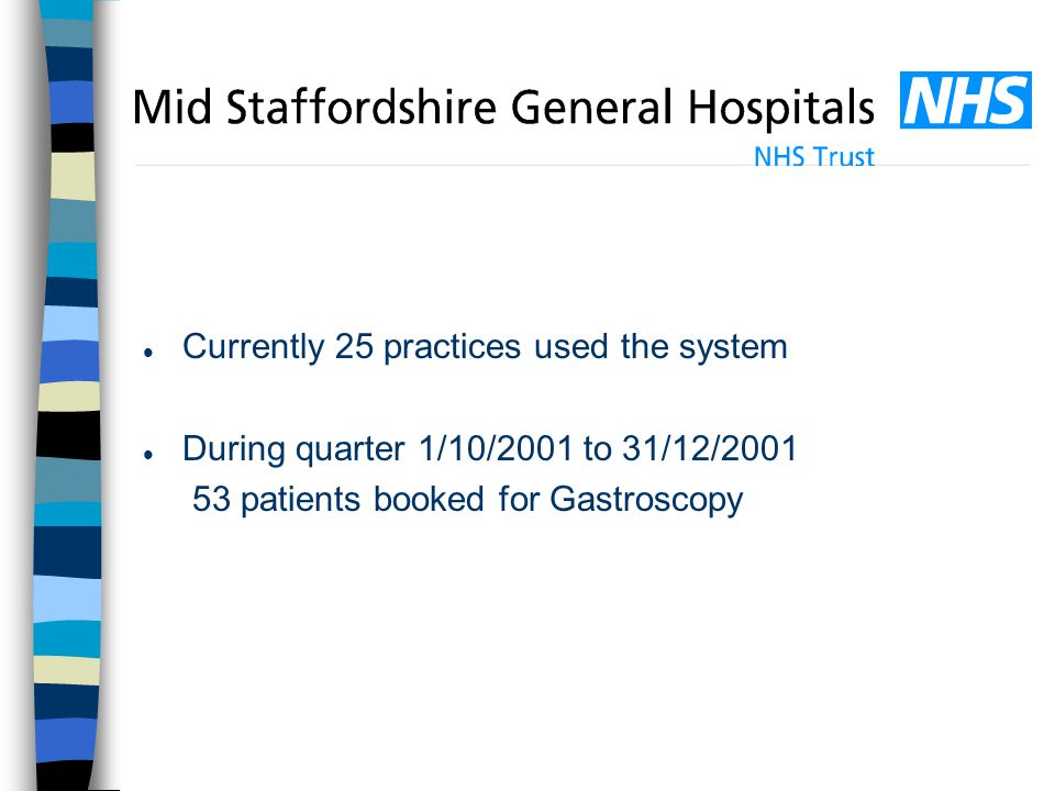 l Currently 25 practices used the system l During quarter 1/10/2001 to 31/12/2001 53 patients booked for Gastroscopy