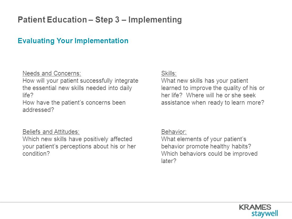 Patient Education – Step 3 – Implementing Evaluating Your Implementation Needs and Concerns: How will your patient successfully integrate the essential new skills needed into daily life.