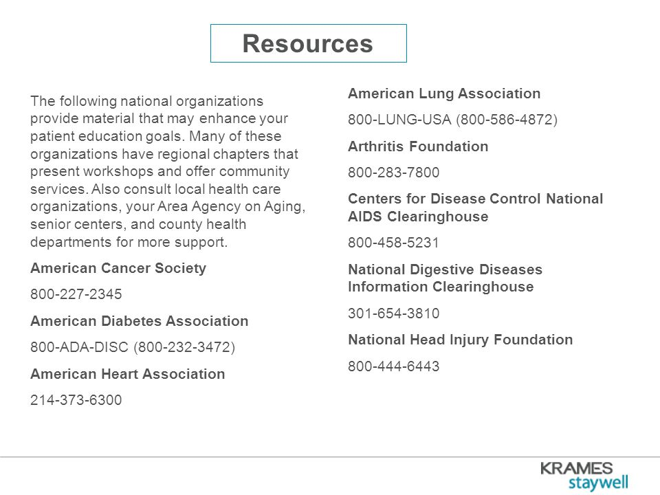 Resources The following national organizations provide material that may enhance your patient education goals.