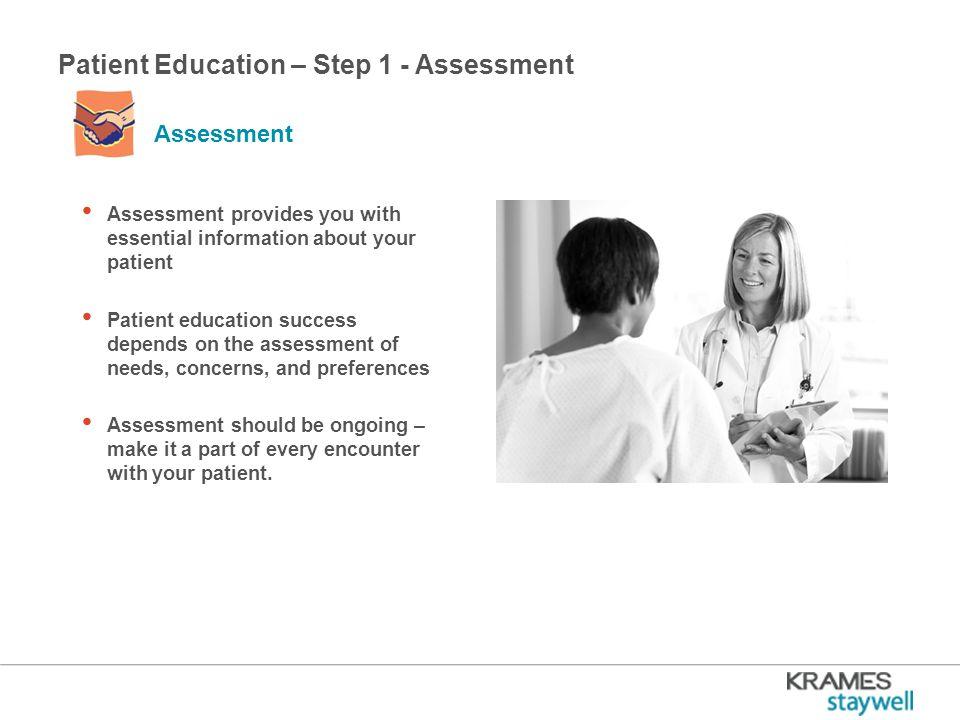 Patient Education – Step 1 - Assessment Avoiding Assumptions – + Never assume.