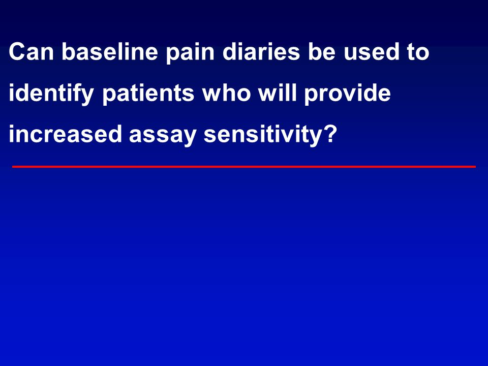 Can baseline pain diaries be used to identify patients who will provide increased assay sensitivity