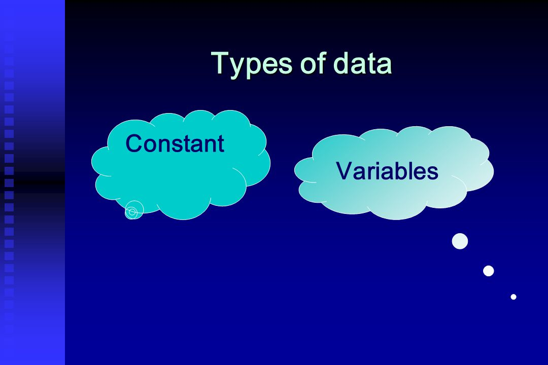 Quantitative continuous Types of variables Quantitative variablesQualitative variables Quantitative descrete Qualitative nominal Qualitative ordinal