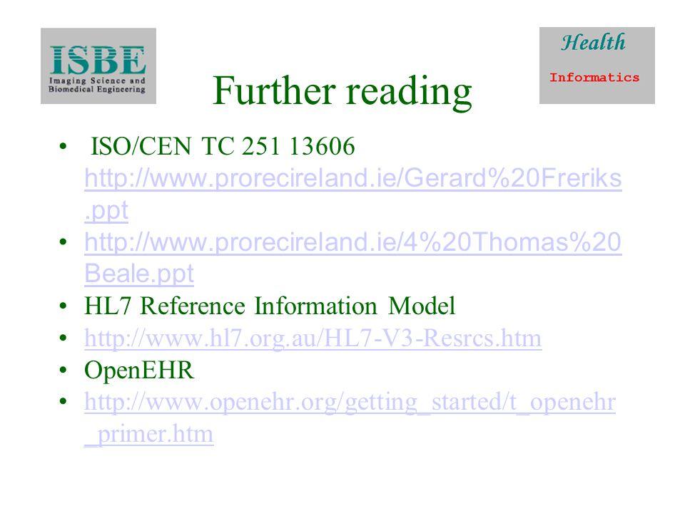 Further reading ISO/CEN TC 251 13606 http://www.prorecireland.ie/Gerard%20Freriks.ppt http://www.prorecireland.ie/Gerard%20Freriks.ppt http://www.prorecireland.ie/4%20Thomas%20 Beale.ppt http://www.prorecireland.ie/4%20Thomas%20 Beale.ppt HL7 Reference Information Model http://www.hl7.org.au/HL7-V3-Resrcs.htm OpenEHR http://www.openehr.org/getting_started/t_openehr _primer.htmhttp://www.openehr.org/getting_started/t_openehr _primer.htm