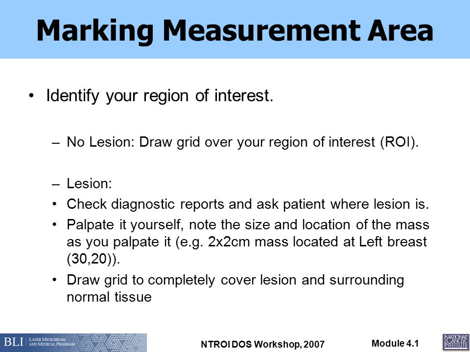 NTROI DOS Workshop, 2007 Module 4.1 Marking Measurement Area Identify your region of interest. –No Lesion: Draw grid over your region of interest (ROI