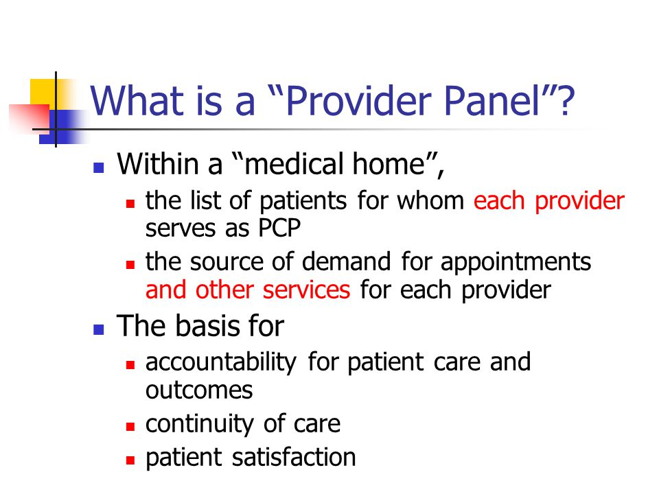 What is a Provider Panel .