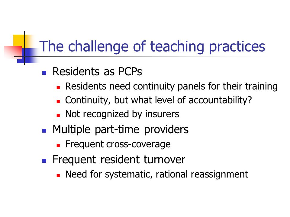 The challenge of teaching practices Residents as PCPs Residents need continuity panels for their training Continuity, but what level of accountability.