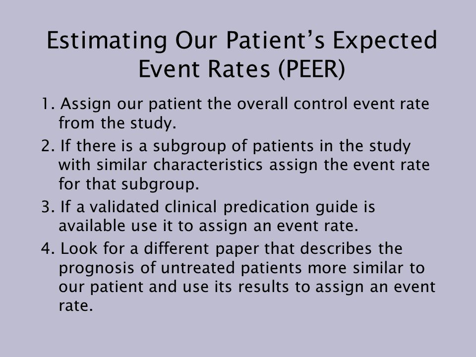 Estimating Our Patient's Expected Event Rates (PEER) 1.