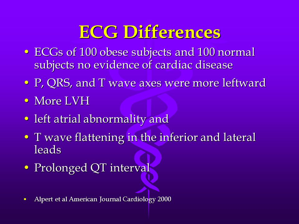 ECG Differences ECGs of 100 obese subjects and 100 normal subjects no evidence of cardiac diseaseECGs of 100 obese subjects and 100 normal subjects no evidence of cardiac disease P, QRS, and T wave axes were more leftwardP, QRS, and T wave axes were more leftward More LVHMore LVH left atrial abnormality andleft atrial abnormality and T wave flattening in the inferior and lateral leadsT wave flattening in the inferior and lateral leads Prolonged QT intervalProlonged QT interval Alpert et al American Journal Cardiology 2000Alpert et al American Journal Cardiology 2000