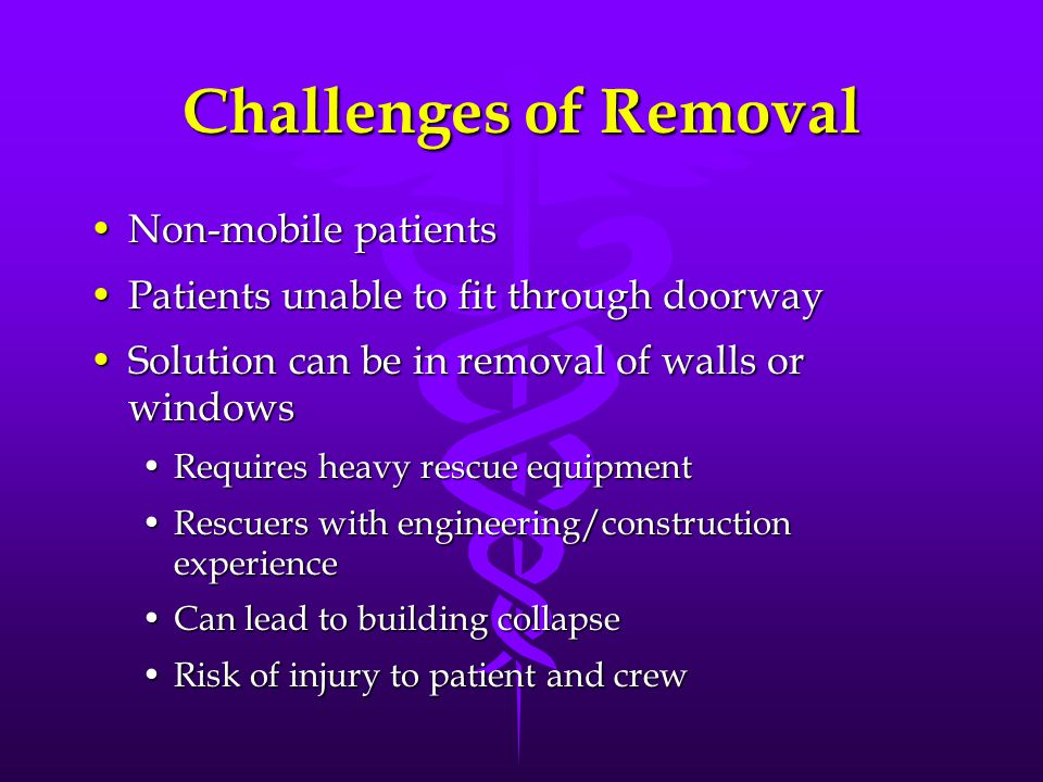 Challenges of Removal Non-mobile patientsNon-mobile patients Patients unable to fit through doorwayPatients unable to fit through doorway Solution can be in removal of walls or windowsSolution can be in removal of walls or windows Requires heavy rescue equipmentRequires heavy rescue equipment Rescuers with engineering/construction experienceRescuers with engineering/construction experience Can lead to building collapseCan lead to building collapse Risk of injury to patient and crewRisk of injury to patient and crew