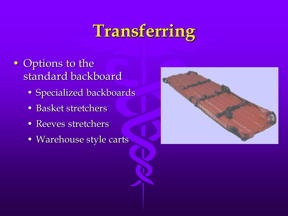 Transferring Options to the standard backboardOptions to the standard backboard Specialized backboardsSpecialized backboards Basket stretchersBasket stretchers Reeves stretchersReeves stretchers Warehouse style cartsWarehouse style carts