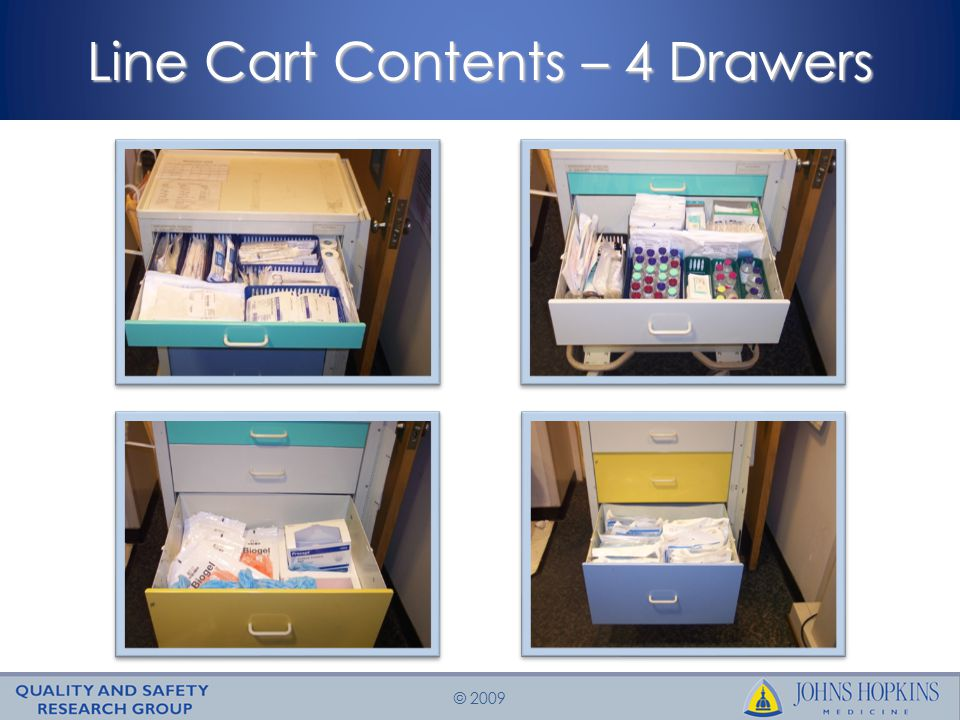 Line Cart Contents – 4 Drawers