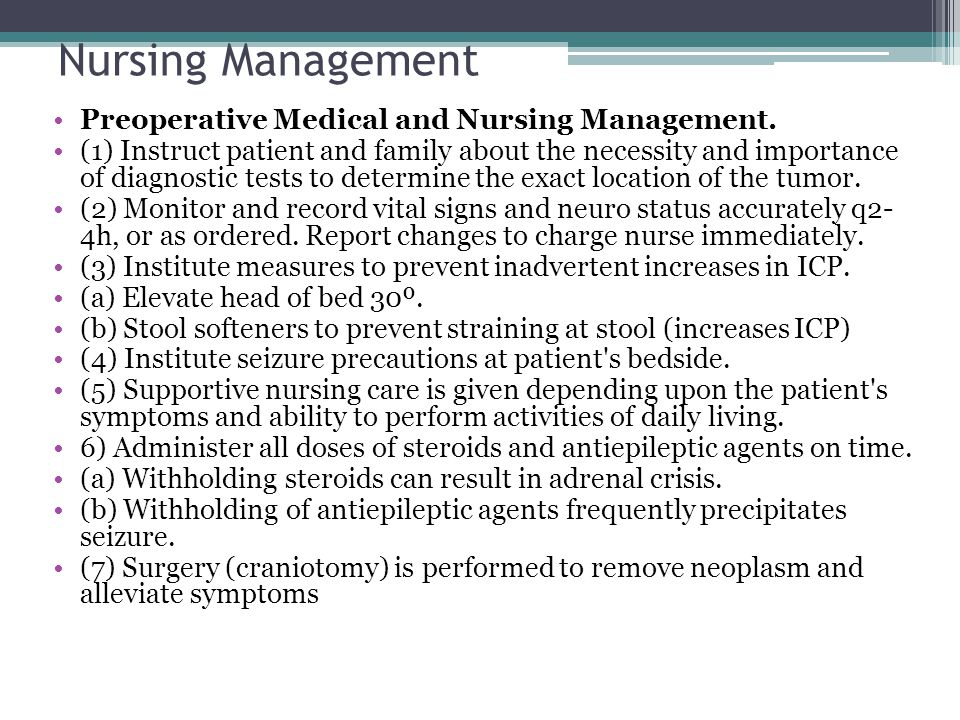 Nursing Management Preoperative Medical and Nursing Management. (1) Instruct patient and family about the necessity and importance of diagnostic tests