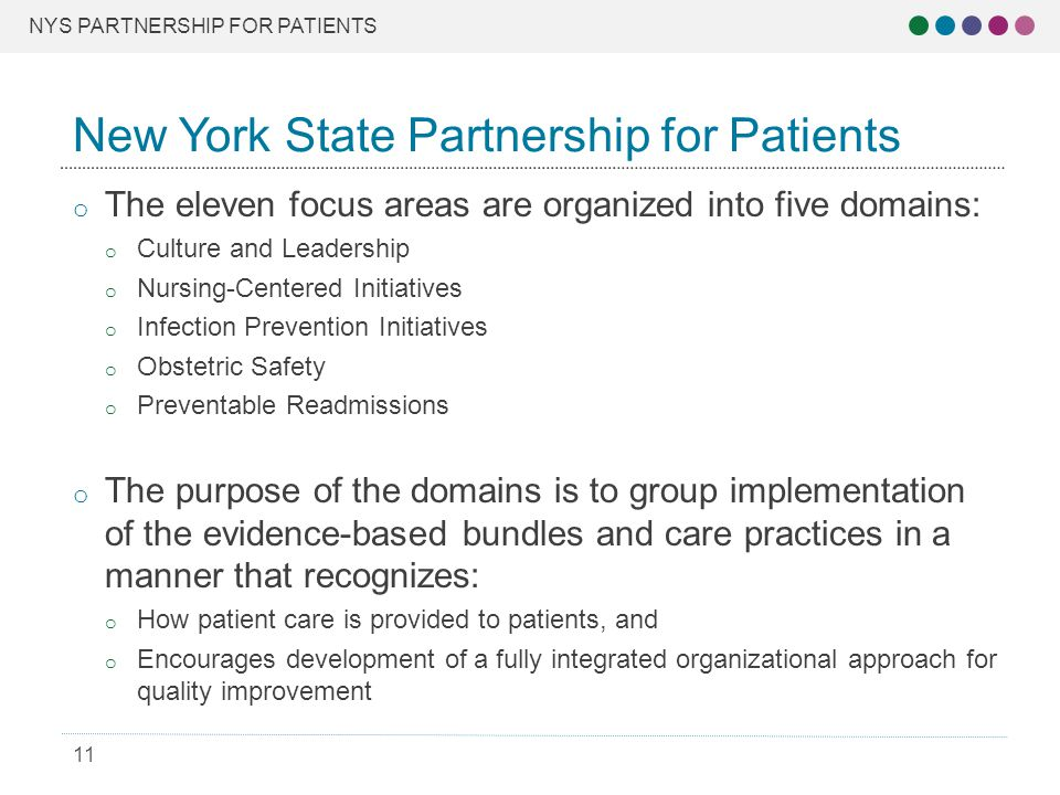 NYS PARTNERSHIP FOR PATIENTS 11 o The eleven focus areas are organized into five domains: o Culture and Leadership o Nursing-Centered Initiatives o Infection Prevention Initiatives o Obstetric Safety o Preventable Readmissions o The purpose of the domains is to group implementation of the evidence-based bundles and care practices in a manner that recognizes: o How patient care is provided to patients, and o Encourages development of a fully integrated organizational approach for quality improvement New York State Partnership for Patients