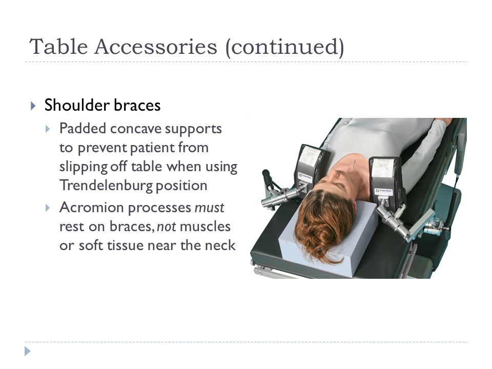 Table Accessories (continued)  Shoulder braces  Padded concave supports to prevent patient from slipping off table when using Trendelenburg position  Acromion processes must rest on braces, not muscles or soft tissue near the neck