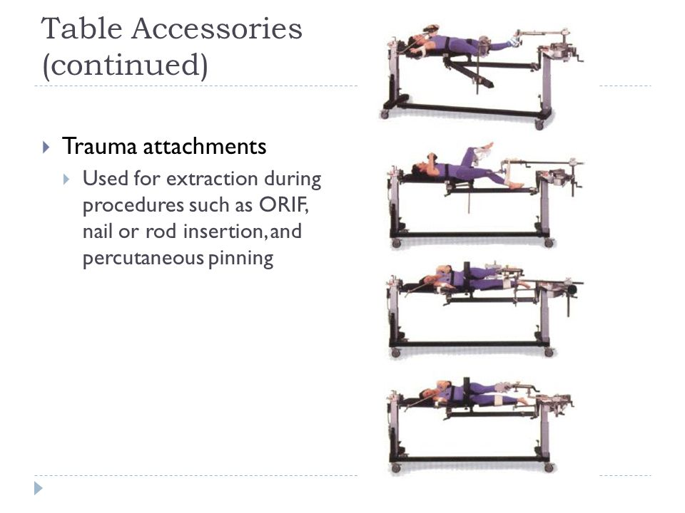 Table Accessories (continued)  Trauma attachments  Used for extraction during procedures such as ORIF, nail or rod insertion, and percutaneous pinni