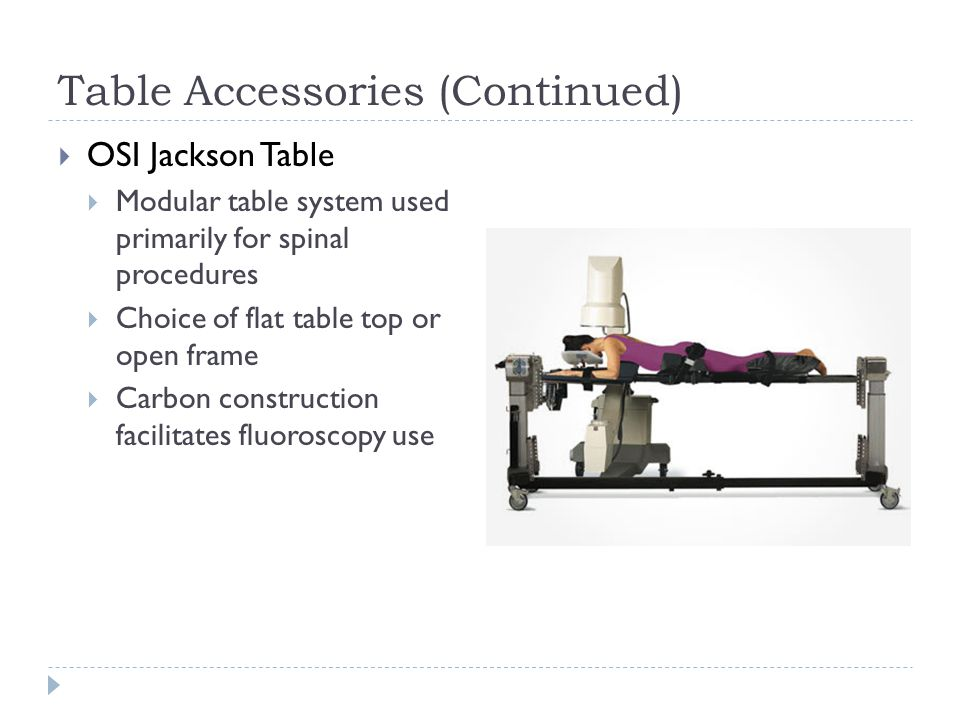 Table Accessories (Continued)  OSI Jackson Table  Modular table system used primarily for spinal procedures  Choice of flat table top or open frame  Carbon construction facilitates fluoroscopy use