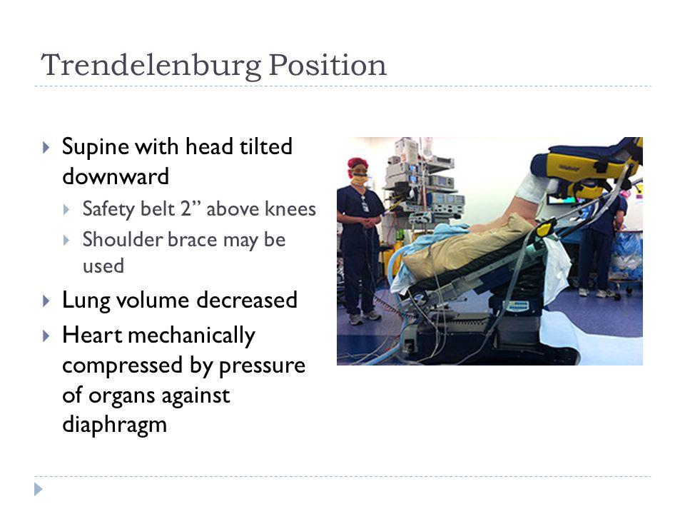 """Trendelenburg Position  Supine with head tilted downward  Safety belt 2"""" above knees  Shoulder brace may be used  Lung volume decreased  Heart me"""
