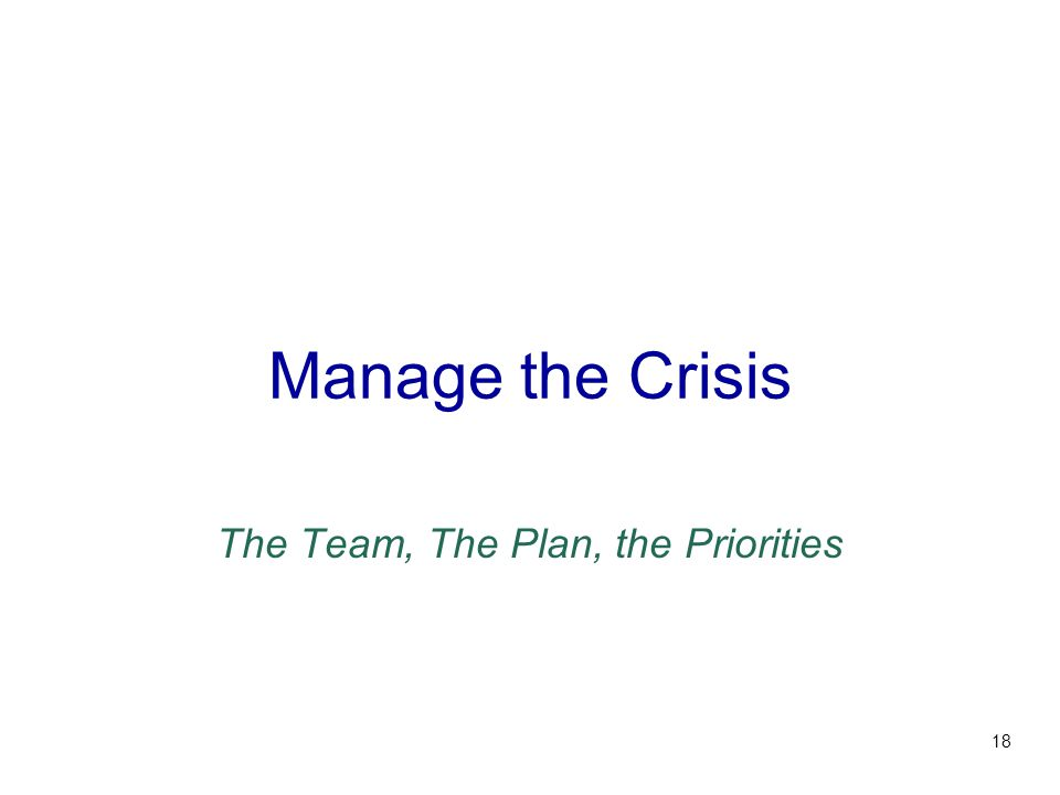 Manage the Crisis The Team, The Plan, the Priorities 18