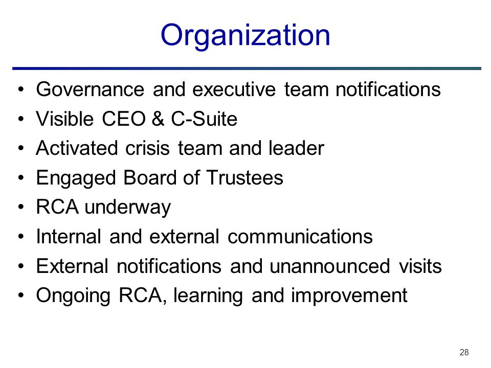 28 Organization Governance and executive team notifications Visible CEO & C-Suite Activated crisis team and leader Engaged Board of Trustees RCA underway Internal and external communications External notifications and unannounced visits Ongoing RCA, learning and improvement