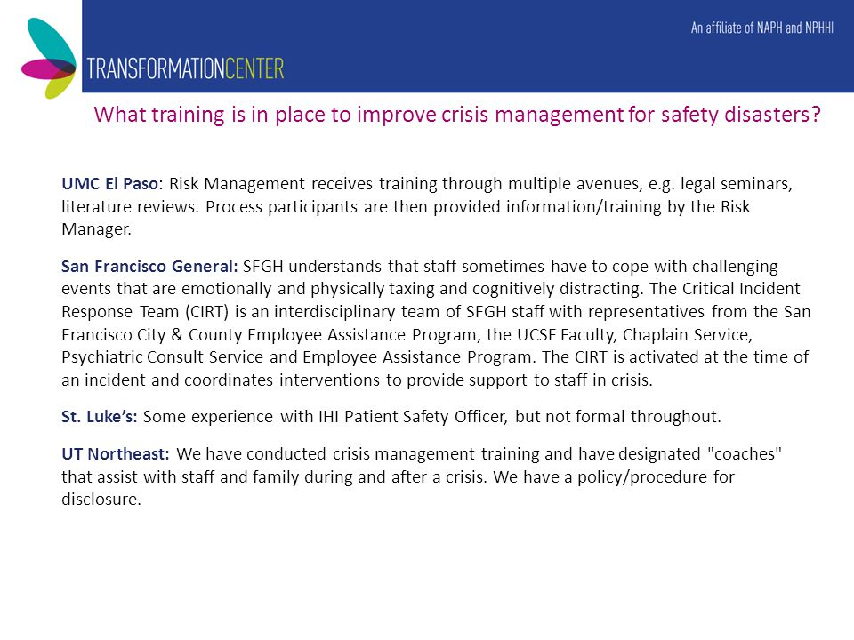 What training is in place to improve crisis management for safety disasters.