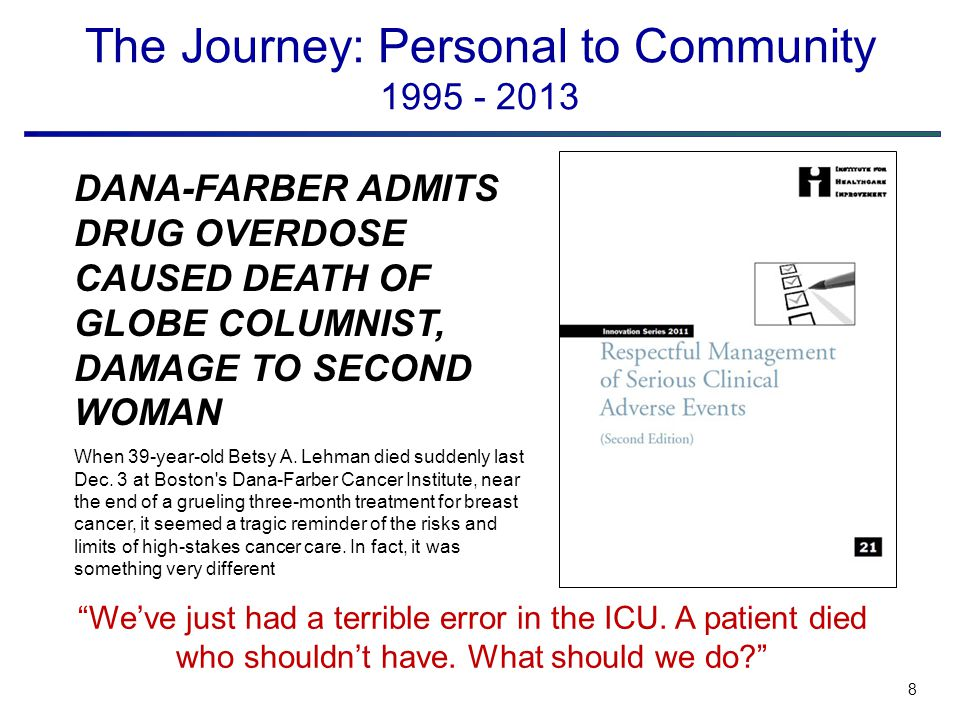 8 The Journey: Personal to Community 1995 - 2013 DANA-FARBER ADMITS DRUG OVERDOSE CAUSED DEATH OF GLOBE COLUMNIST, DAMAGE TO SECOND WOMAN When 39-year-old Betsy A.