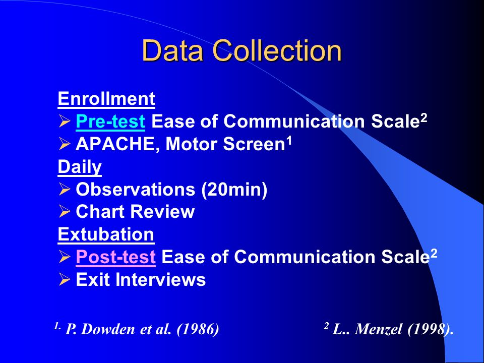 Data Collection Enrollment  Pre-test Ease of Communication Scale 2  APACHE, Motor Screen 1 Daily  Observations (20min)  Chart Review Extubation  Post-test Ease of Communication Scale 2  Exit Interviews 1.