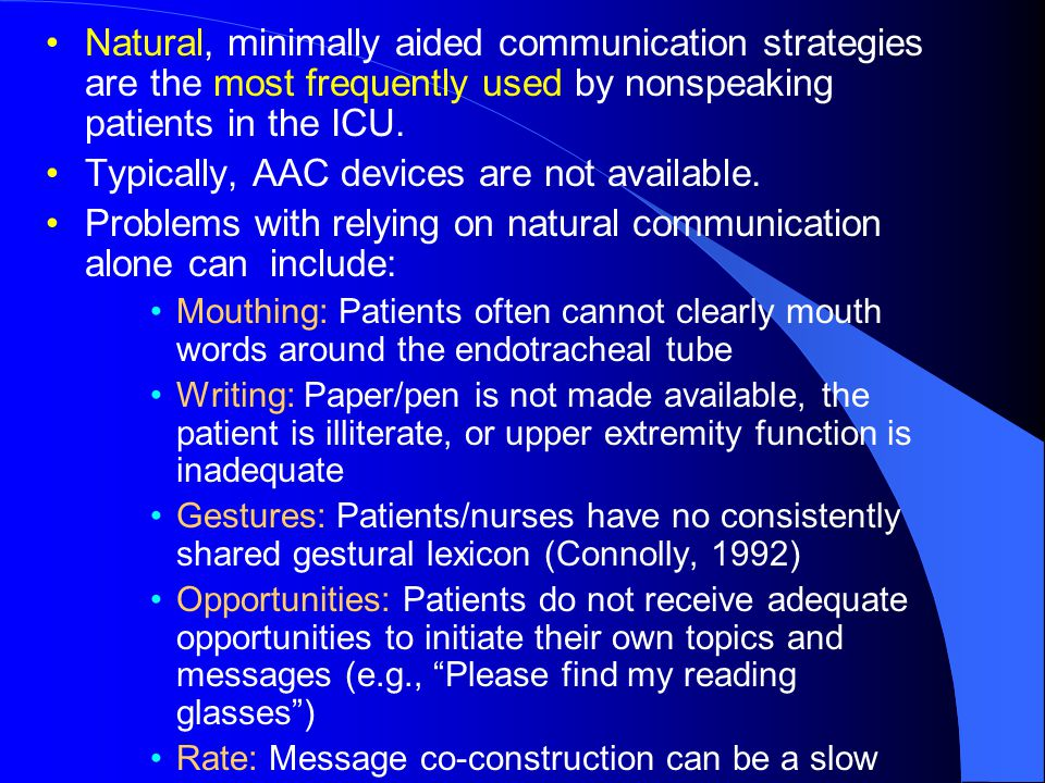Natural, minimally aided communication strategies are the most frequently used by nonspeaking patients in the ICU.