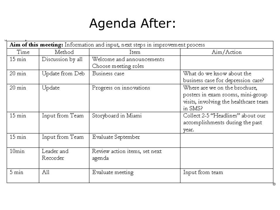 Agenda After: