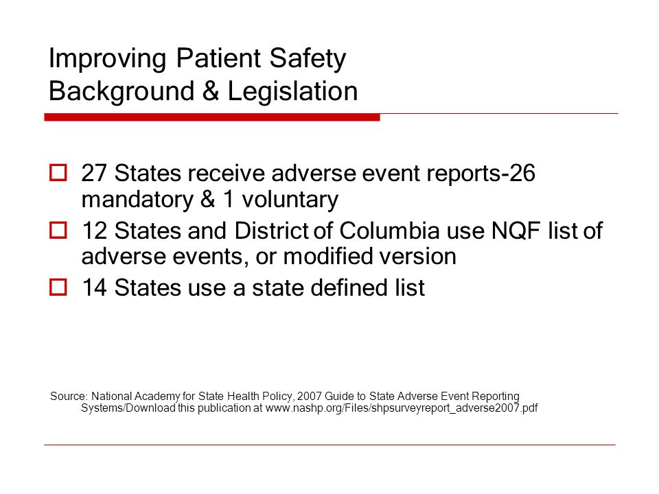 Improving Patient Safety Background & Legislation  27 States receive adverse event reports-26 mandatory & 1 voluntary  12 States and District of Col