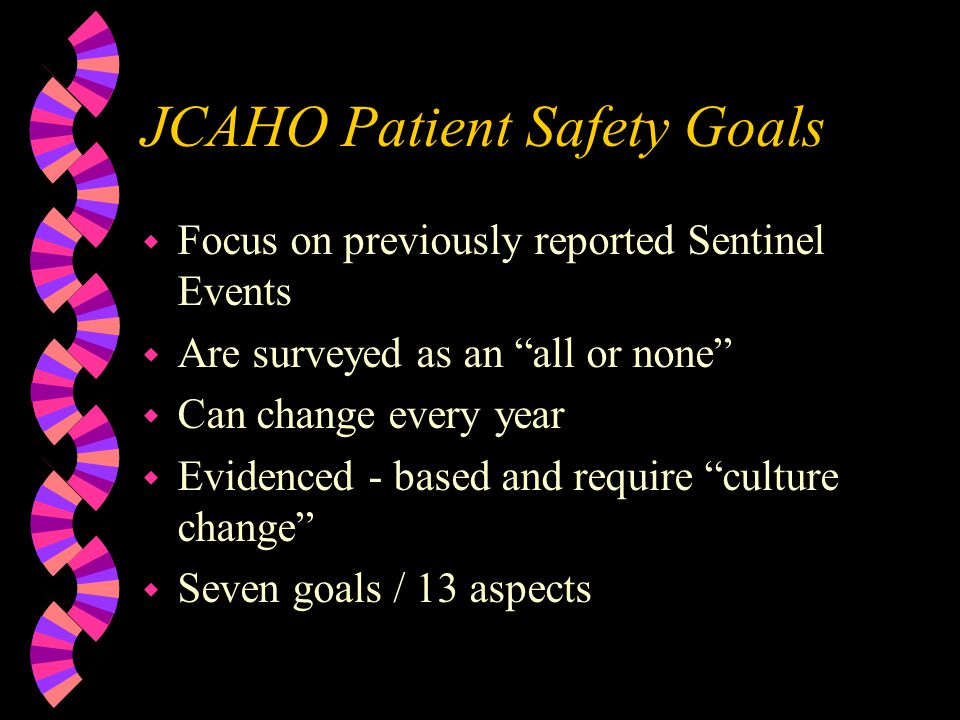 2003-04 Patient Safety Goals w Patient identification Use of 2 unique identifiers Use of time out prior to invasive procedure w Effective communication Read back on verbal / phone orders Standardize abbreviations / list those not to be used
