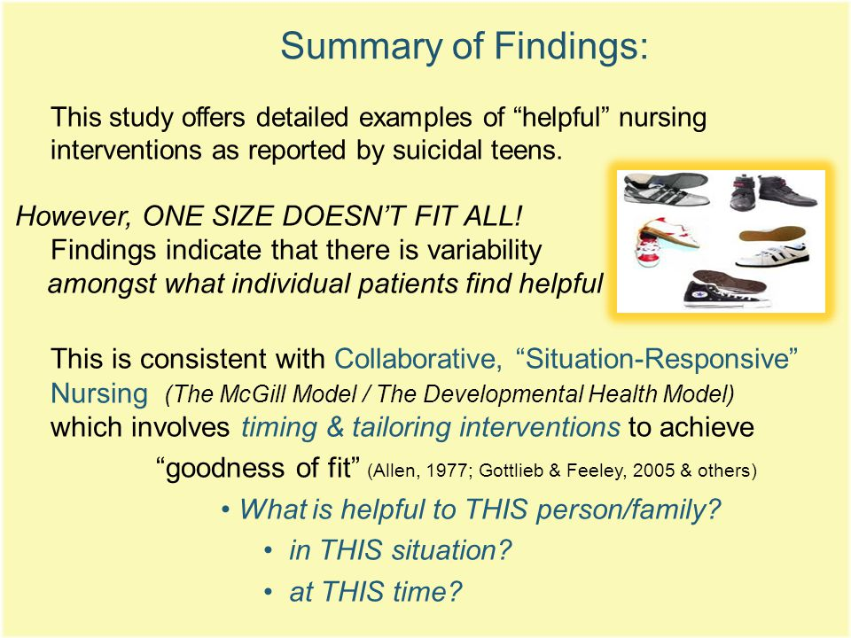 Summary of Findings: This study offers detailed examples of helpful nursing interventions as reported by suicidal teens.
