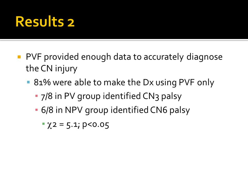  PVF provided enough data to accurately diagnose the CN injury  81% were able to make the Dx using PVF only ▪ 7/8 in PV group identified CN3 palsy ▪ 6/8 in NPV group identified CN6 palsy ▪  2 = 5.1; p<0.05