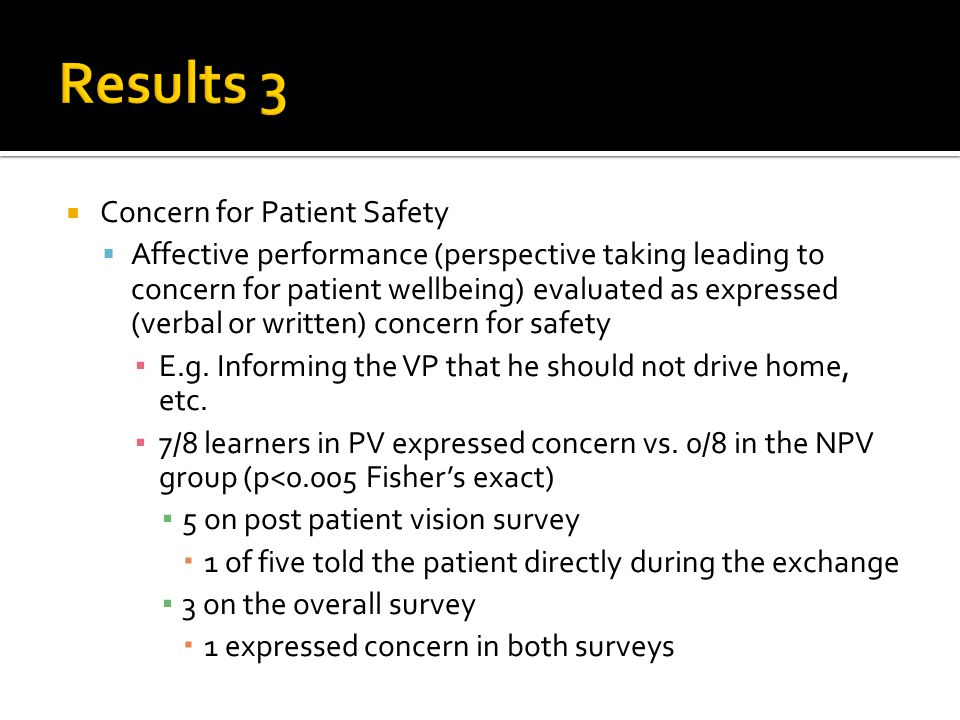  Concern for Patient Safety  Affective performance (perspective taking leading to concern for patient wellbeing) evaluated as expressed (verbal or written) concern for safety ▪ E.g.