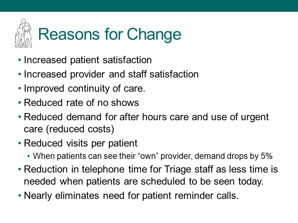 Reasons for Change Increased patient satisfaction Increased provider and staff satisfaction Improved continuity of care.
