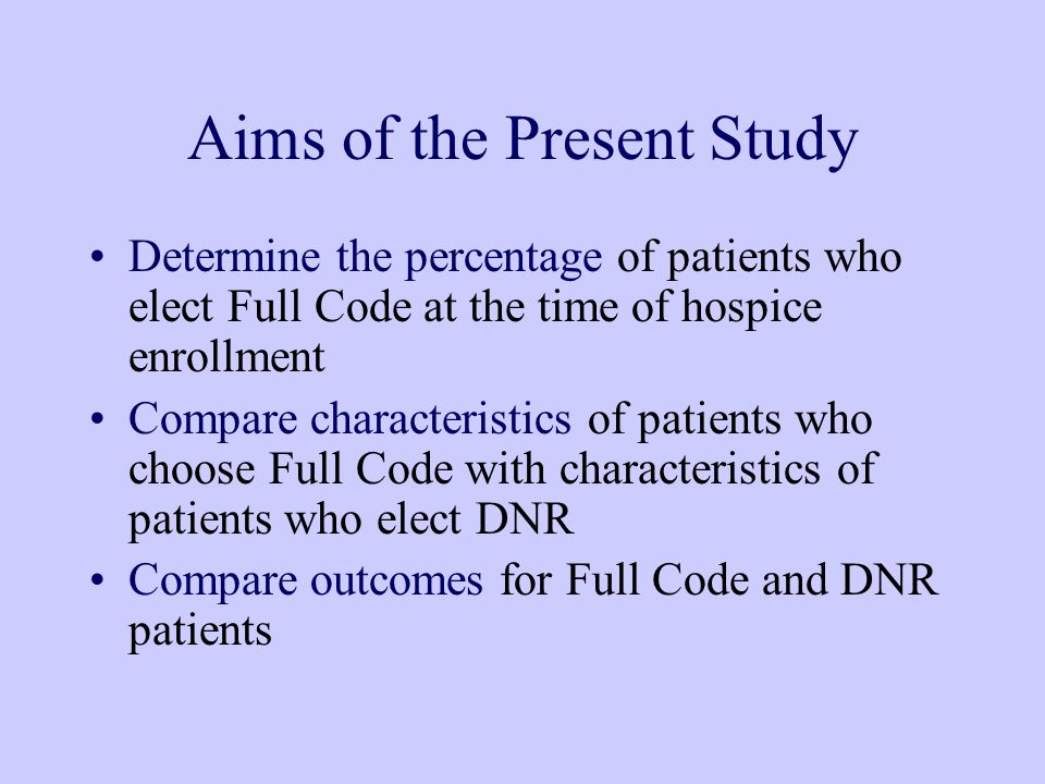 Aims of the Present Study Determine the percentage of patients who elect Full Code at the time of hospice enrollment Compare characteristics of patients who choose Full Code with characteristics of patients who elect DNR Compare outcomes for Full Code and DNR patients
