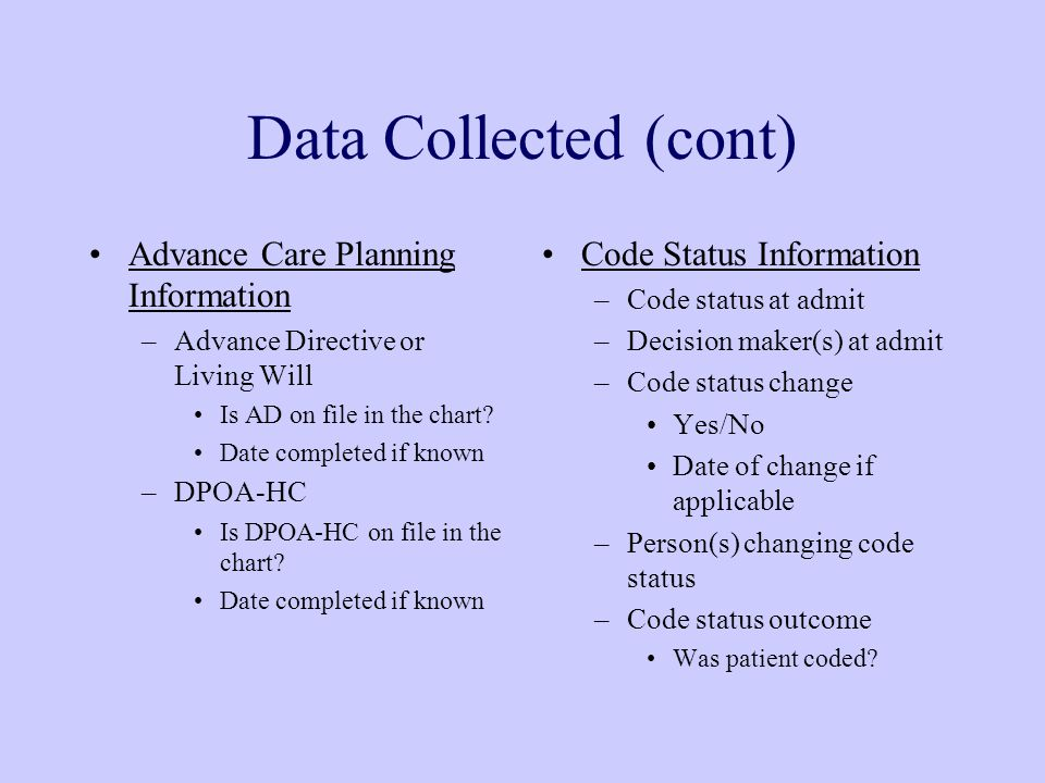 Data Collected (cont) Advance Care Planning Information –Advance Directive or Living Will Is AD on file in the chart.