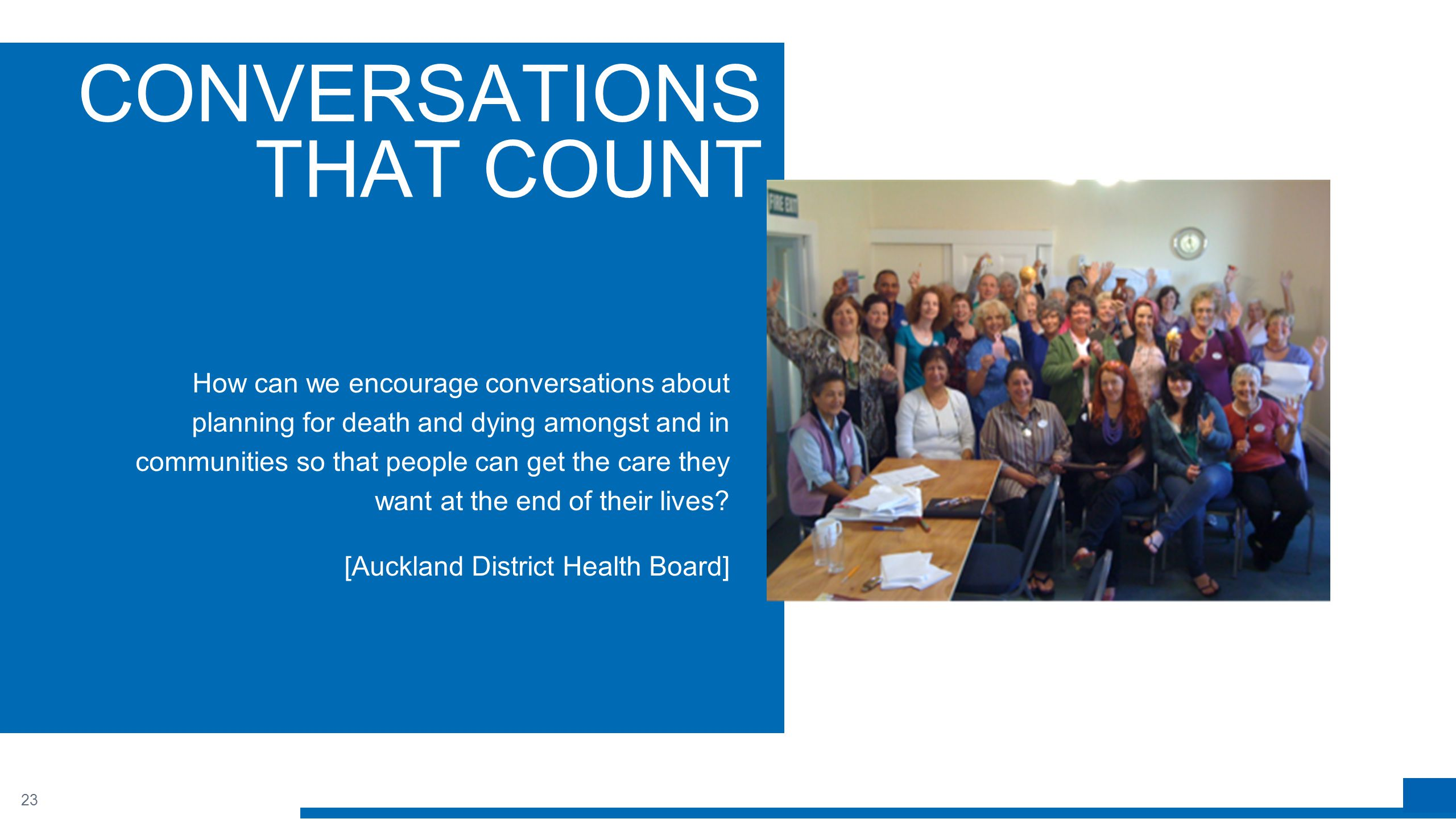 23 CONVERSATIONS THAT COUNT How can we encourage conversations about planning for death and dying amongst and in communities so that people can get the care they want at the end of their lives.