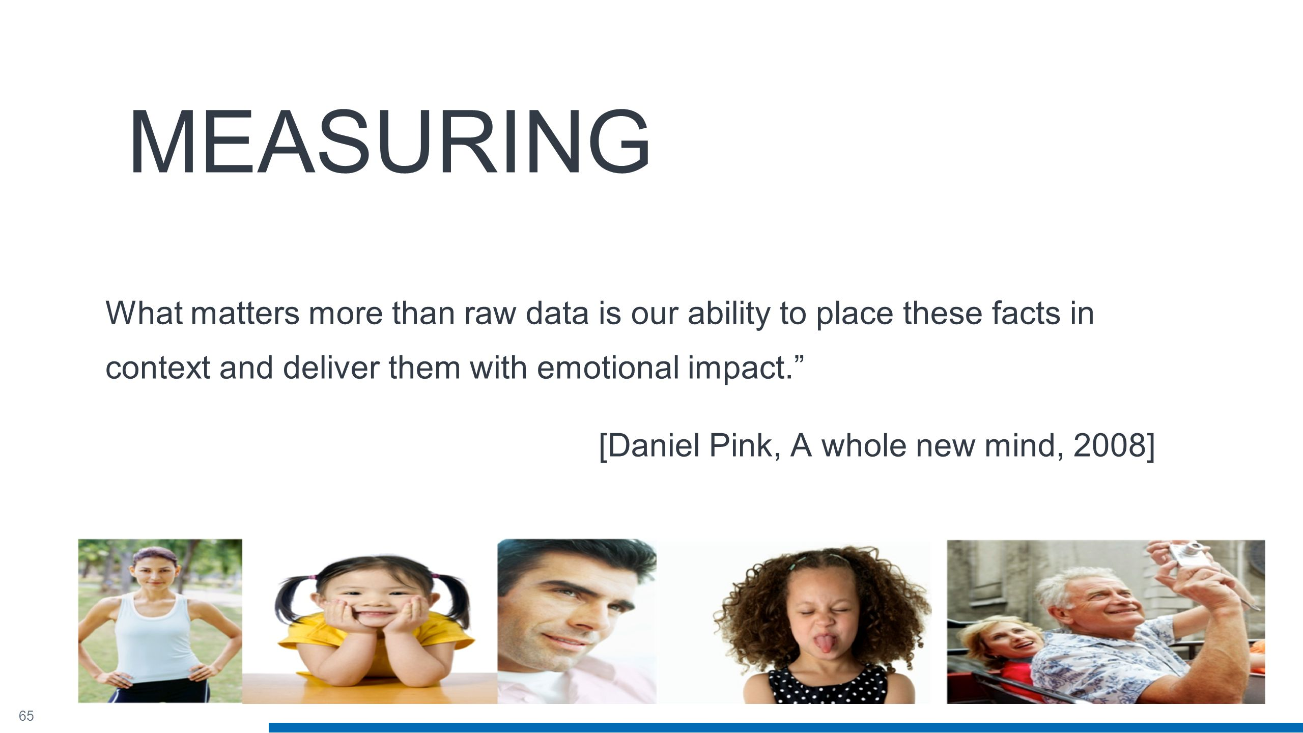 65 MEASURING What matters more than raw data is our ability to place these facts in context and deliver them with emotional impact. [Daniel Pink, A whole new mind, 2008]