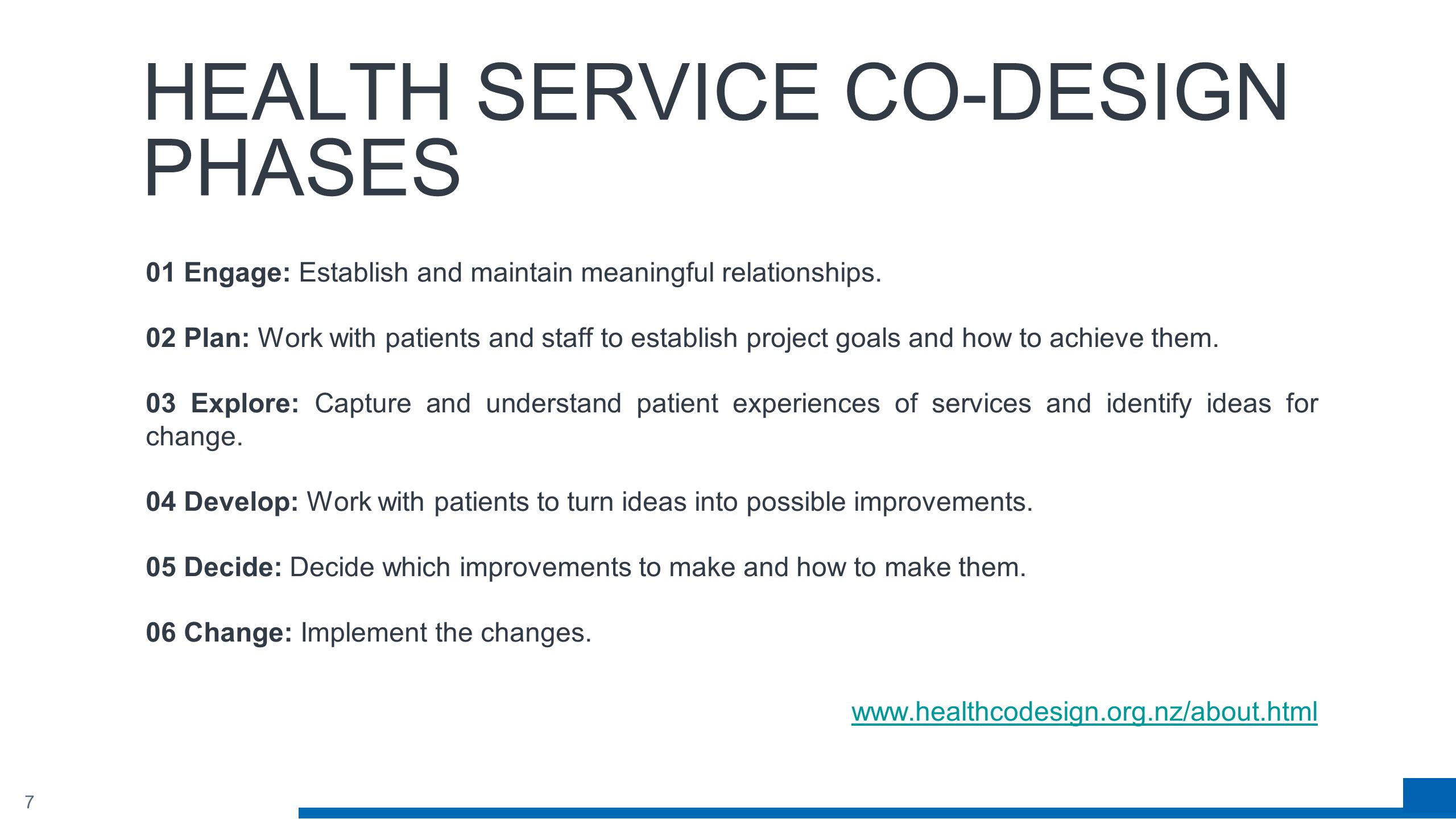 7 HEALTH SERVICE CO-DESIGN PHASES 01 Engage: Establish and maintain meaningful relationships.