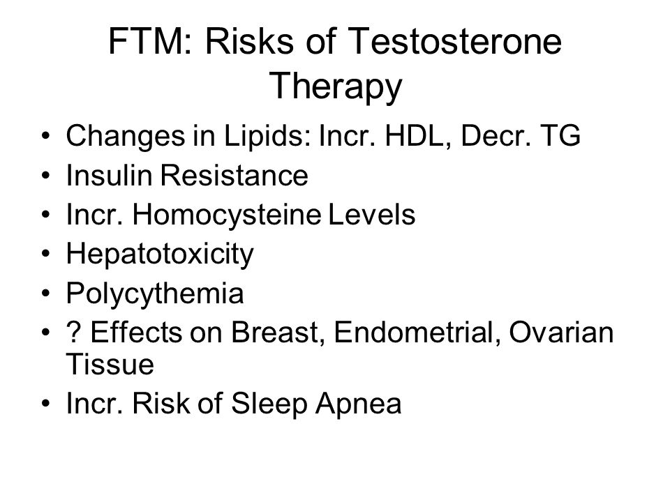 FTM: Continuing Care Legal Issues Surgical Options: Mastectomy, Hysterectomy, Oophorectomy, Genital Reconstruction Health Maintenance: PAP, Mammogram, Breast Exam STD/HIV Screening CAD risk