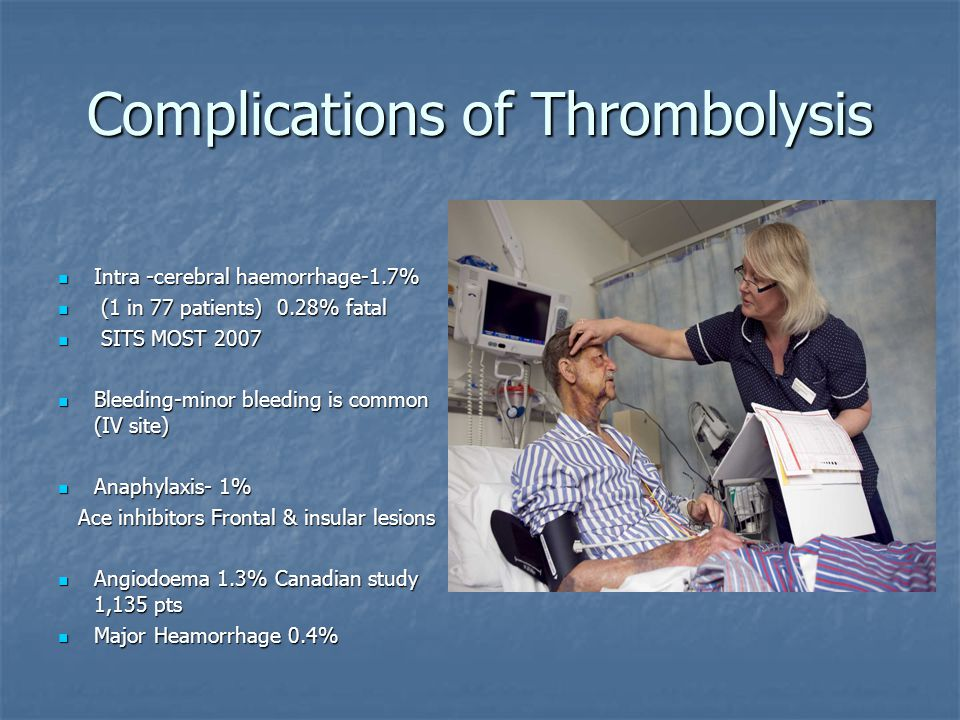 Complications of Thrombolysis Intra -cerebral haemorrhage-1.7% Intra -cerebral haemorrhage-1.7% (1 in 77 patients) 0.28% fatal (1 in 77 patients) 0.28% fatal SITS MOST 2007 SITS MOST 2007 Bleeding-minor bleeding is common (IV site) Bleeding-minor bleeding is common (IV site) Anaphylaxis- 1% Anaphylaxis- 1% Ace inhibitors Frontal & insular lesions Ace inhibitors Frontal & insular lesions Angiodoema 1.3% Canadian study 1,135 pts Angiodoema 1.3% Canadian study 1,135 pts Major Heamorrhage 0.4% Major Heamorrhage 0.4%
