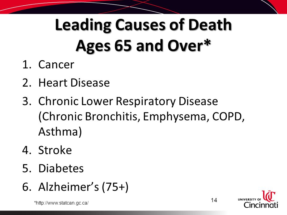 Leading Causes of Death Ages 65 and Over* 1.Cancer 2.Heart Disease 3.Chronic Lower Respiratory Disease (Chronic Bronchitis, Emphysema, COPD, Asthma) 4