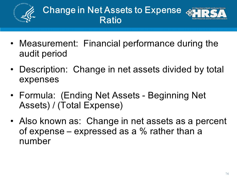 Change in Net Assets to Expense Ratio Measurement: Financial performance during the audit period Description: Change in net assets divided by total ex