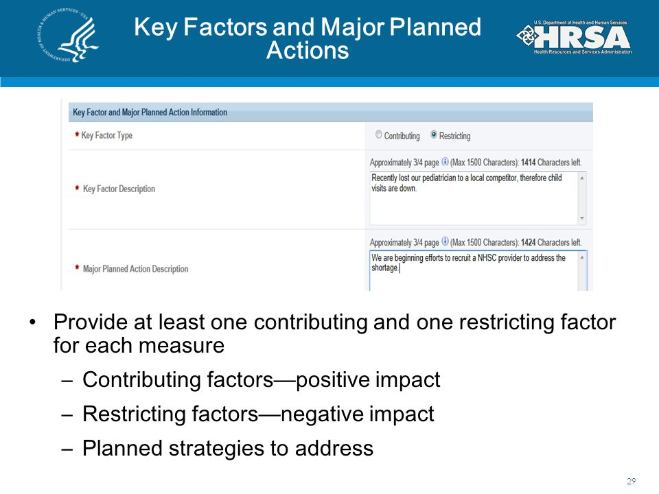 Key Factors and Major Planned Actions 29 Provide at least one contributing and one restricting factor for each measure –Contributing factors—positive