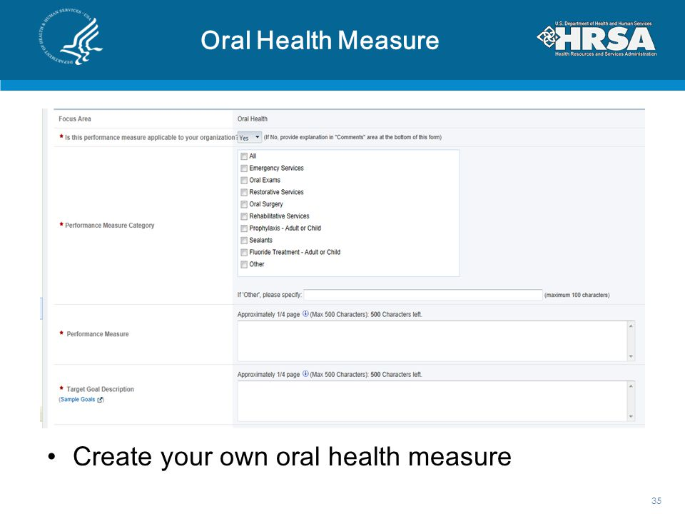 Oral Health Measure 35 Create your own oral health measure