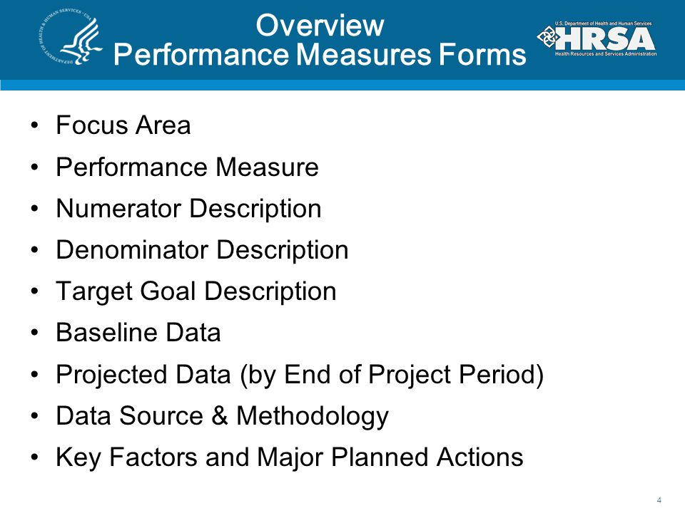 Overview Performance Measures Forms Focus Area Performance Measure Numerator Description Denominator Description Target Goal Description Baseline Data