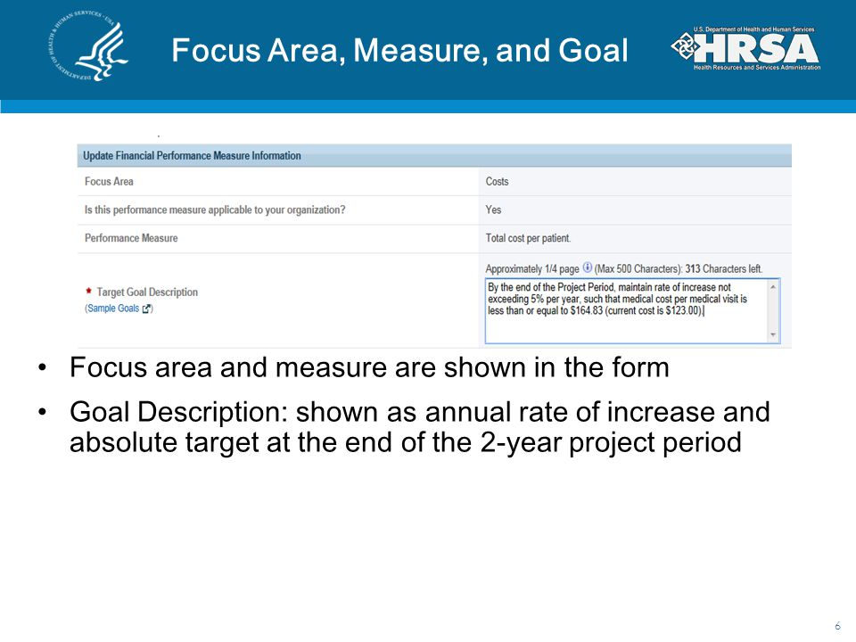Focus Area, Measure, and Goal Focus area and measure are shown in the form Goal Description: shown as annual rate of increase and absolute target at t