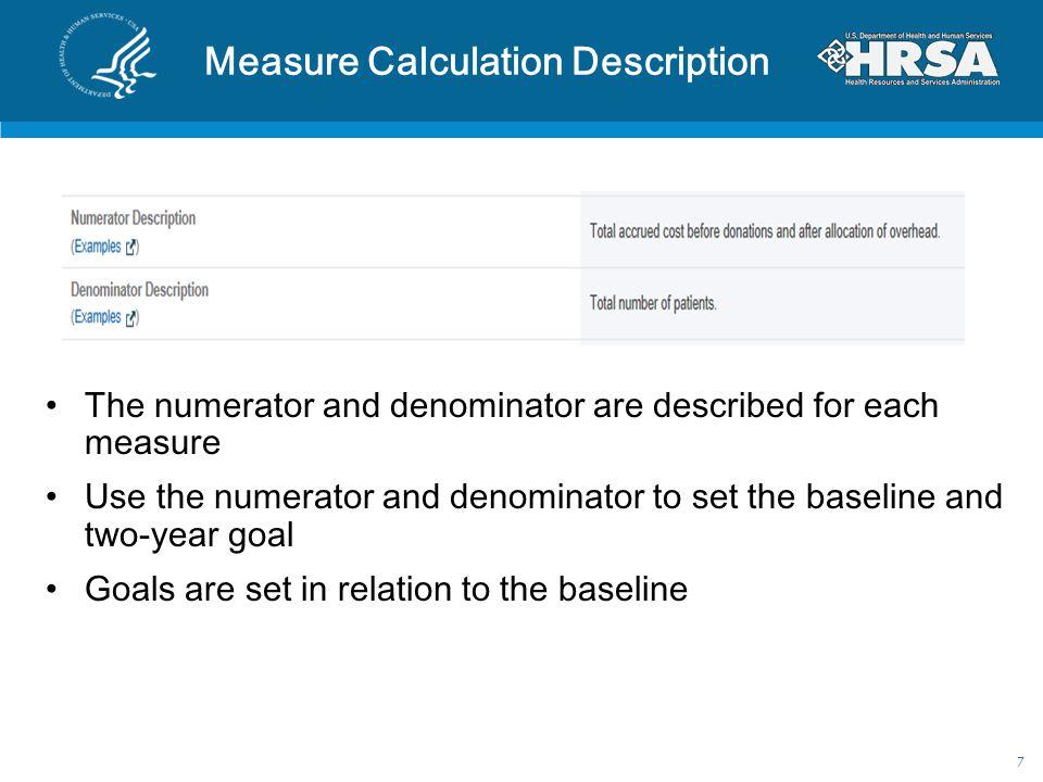 Measure Calculation Description The numerator and denominator are described for each measure Use the numerator and denominator to set the baseline and